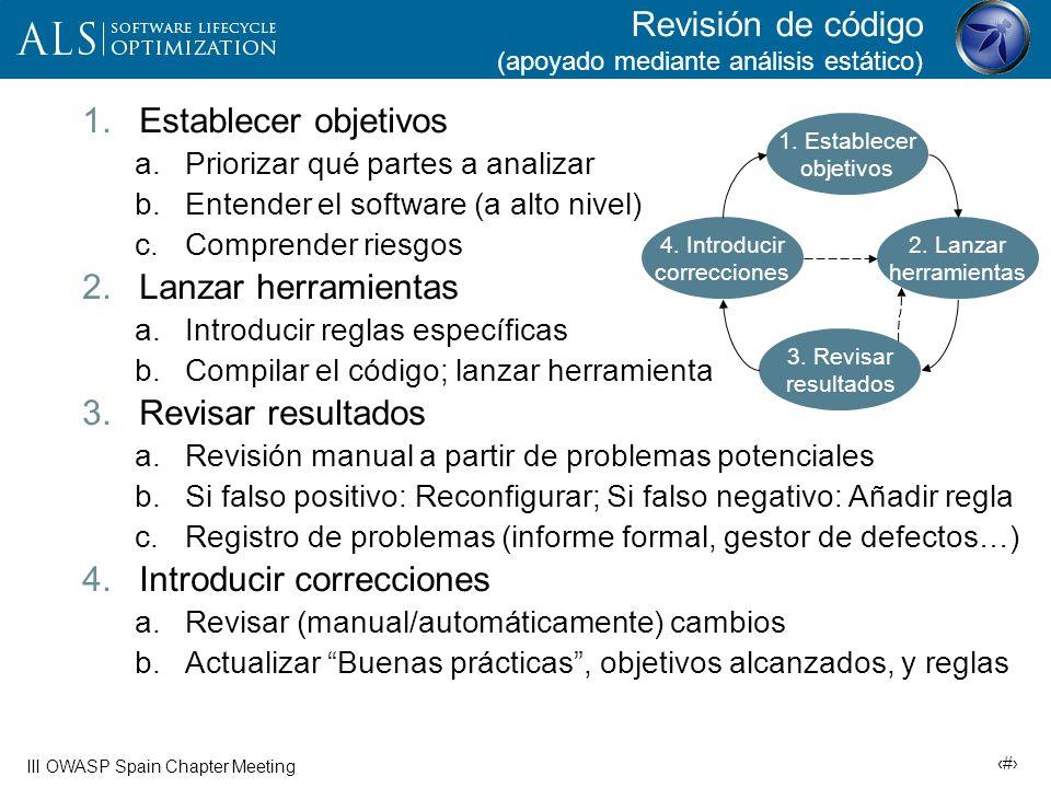 28 III OWASP Spain Chapter Meeting Quién, cúando, cómo… ¿Quién ejecuta la herramienta.
