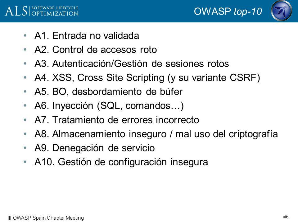 7 III OWASP Spain Chapter Meeting Algunas concepciones erróneas Programación defensiva es lo que necesito = Codificar con la idea de que los errores son inevitables y, antes o después, algo irá mal y provocará condiciones inesperadas.