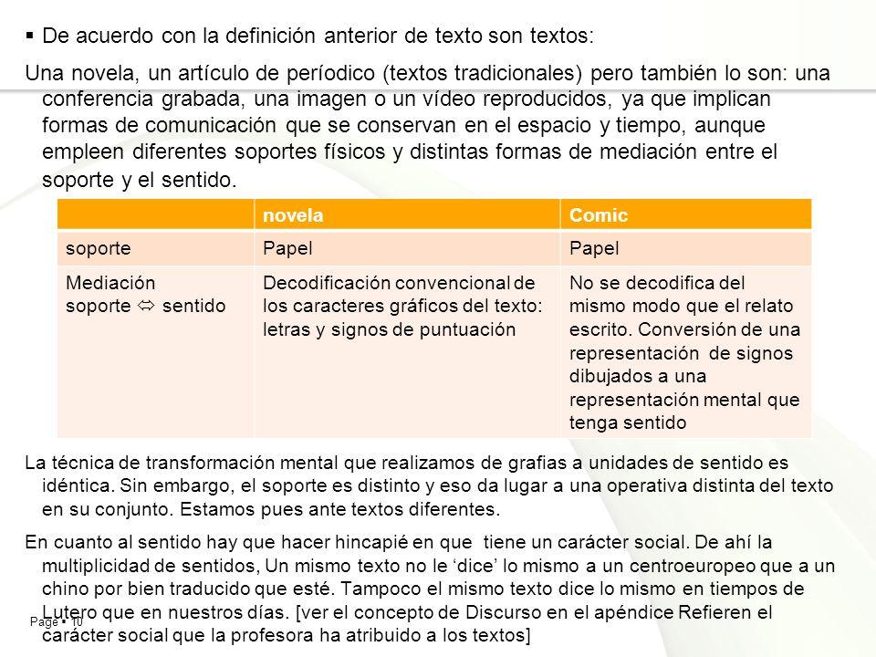 Page 10 De acuerdo con la definición anterior de texto son textos: Una novela, un artículo de períodico (textos tradicionales) pero también lo son: un