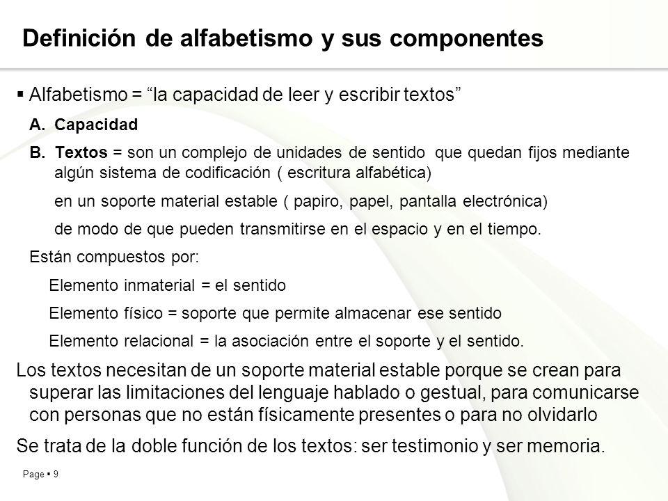 Page 9 Definición de alfabetismo y sus componentes Alfabetismo = la capacidad de leer y escribir textos A.Capacidad B.Textos = son un complejo de unid