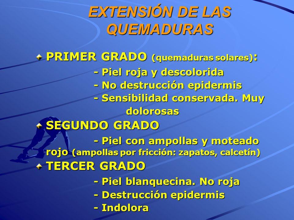 EXTENSIÓN DE LAS QUEMADURAS PRIMER GRADO (quemaduras solares) : - Piel roja y descolorida - No destrucción epidermis - Sensibilidad conservada. Muy do
