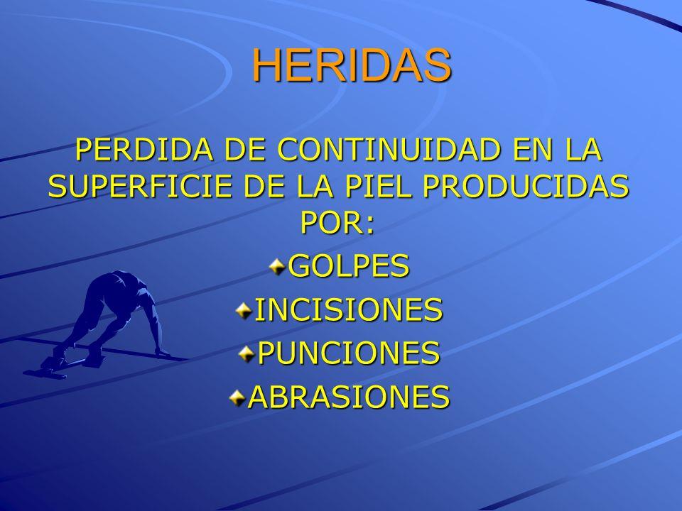 HERIDAS PERDIDA DE CONTINUIDAD EN LA SUPERFICIE DE LA PIEL PRODUCIDAS POR: GOLPESINCISIONESPUNCIONESABRASIONES