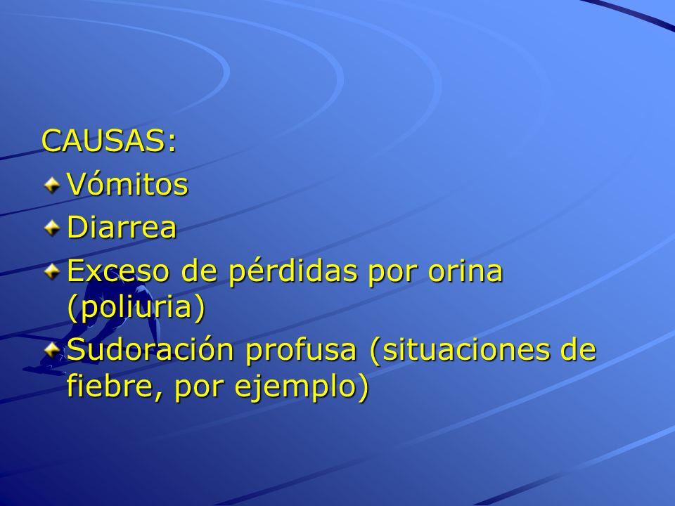CAUSAS:VómitosDiarrea Exceso de pérdidas por orina (poliuria) Sudoración profusa (situaciones de fiebre, por ejemplo)