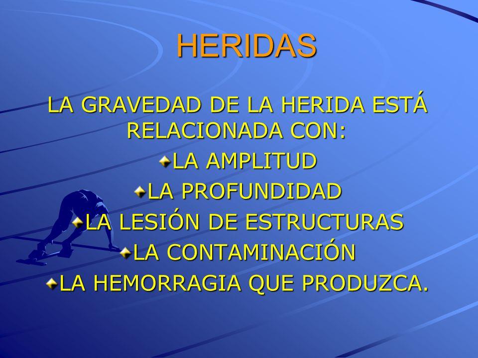 HERIDAS LA GRAVEDAD DE LA HERIDA ESTÁ RELACIONADA CON: LA AMPLITUD LA PROFUNDIDAD LA LESIÓN DE ESTRUCTURAS LA CONTAMINACIÓN LA HEMORRAGIA QUE PRODUZCA