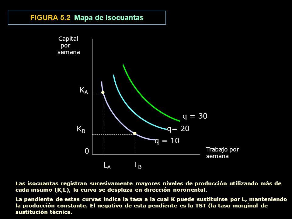 FIGURA 5.2 Mapa de Isocuantas Capital por semana Trabajo por semana LALA LBLB KBKB K A 0 q = 10 q= 20 q = 30 Las isocuantas registran sucesivamente ma