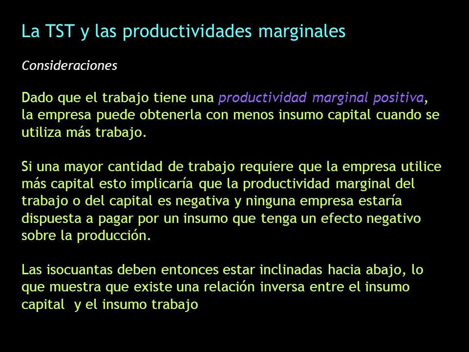 La TST y las productividades marginales Consideraciones Dado que el trabajo tiene una productividad marginal positiva, la empresa puede obtenerla con