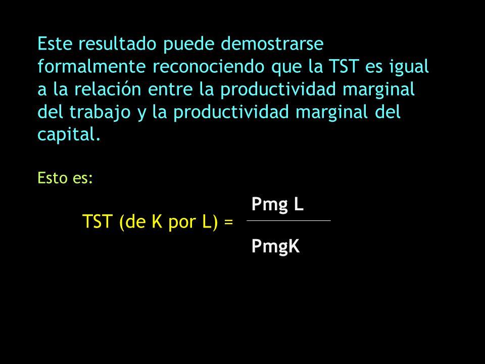 Este resultado puede demostrarse formalmente reconociendo que la TST es igual a la relación entre la productividad marginal del trabajo y la productiv