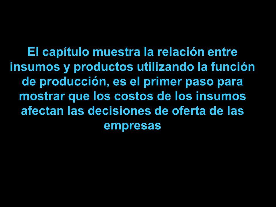 El capítulo muestra la relación entre insumos y productos utilizando la función de producción, es el primer paso para mostrar que los costos de los in