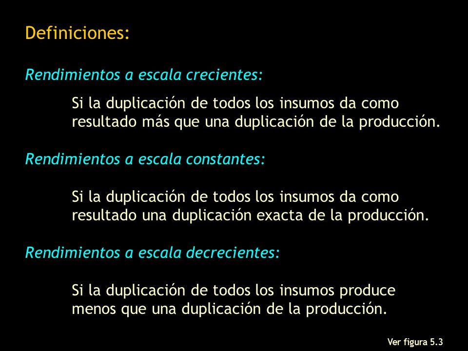 Definiciones: Rendimientos a escala crecientes: Si la duplicación de todos los insumos da como resultado más que una duplicación de la producción. Ren