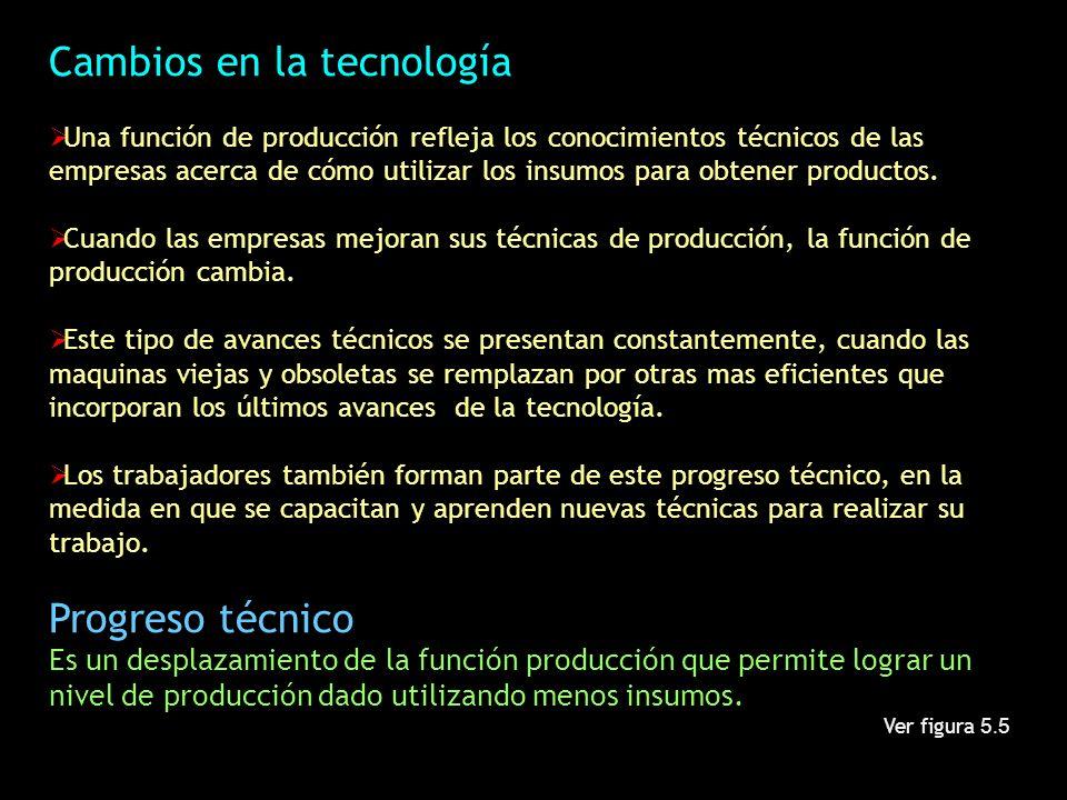 Cambios en la tecnología Una función de producción refleja los conocimientos técnicos de las empresas acerca de cómo utilizar los insumos para obtener