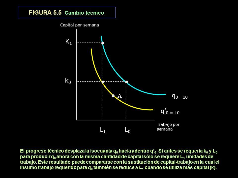 FIGURA 5.5 Cambio técnico A q 0 =10 q 0 = 10 Trabajo por semana Capital por semana L 1 L 0 K1 K1 k 0 El progreso técnico desplaza la isocuanta q 0 hac