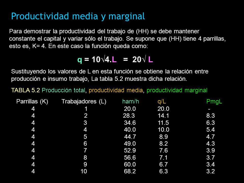 Productividad media y marginal Para demostrar la productividad del trabajo de (HH) se debe mantener constante el capital y variar sólo el trabajo. Se