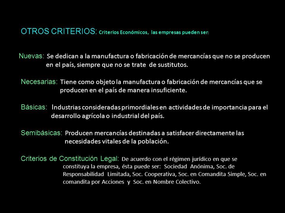 OTROS CRITERIOS: OTROS CRITERIOS: Criterios Económicos, las empresas pueden ser : Nuevas: Se dedican a la manufactura o fabricación de mercancías que