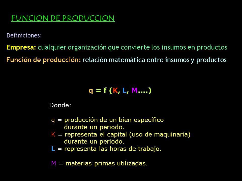 Definiciones: Empresa: cualquier organización que convierte los insumos en productos Función de producción: relación matemática entre insumos y produc