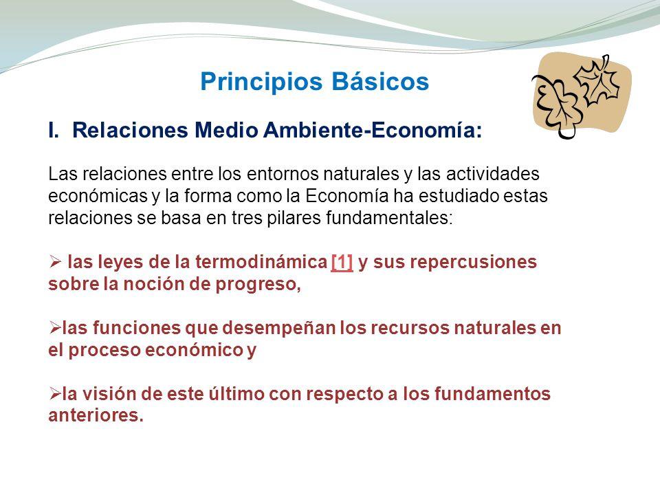 Principios Básicos I. Relaciones Medio Ambiente-Economía: Las relaciones entre los entornos naturales y las actividades económicas y la forma como la