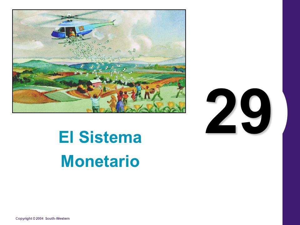 Copyright © 2004 South-Western El significado del dinero El dinero es el conjunto de activos en una economía que las personas utilizan regularmente para comprar bienes y servicios de otras personas.