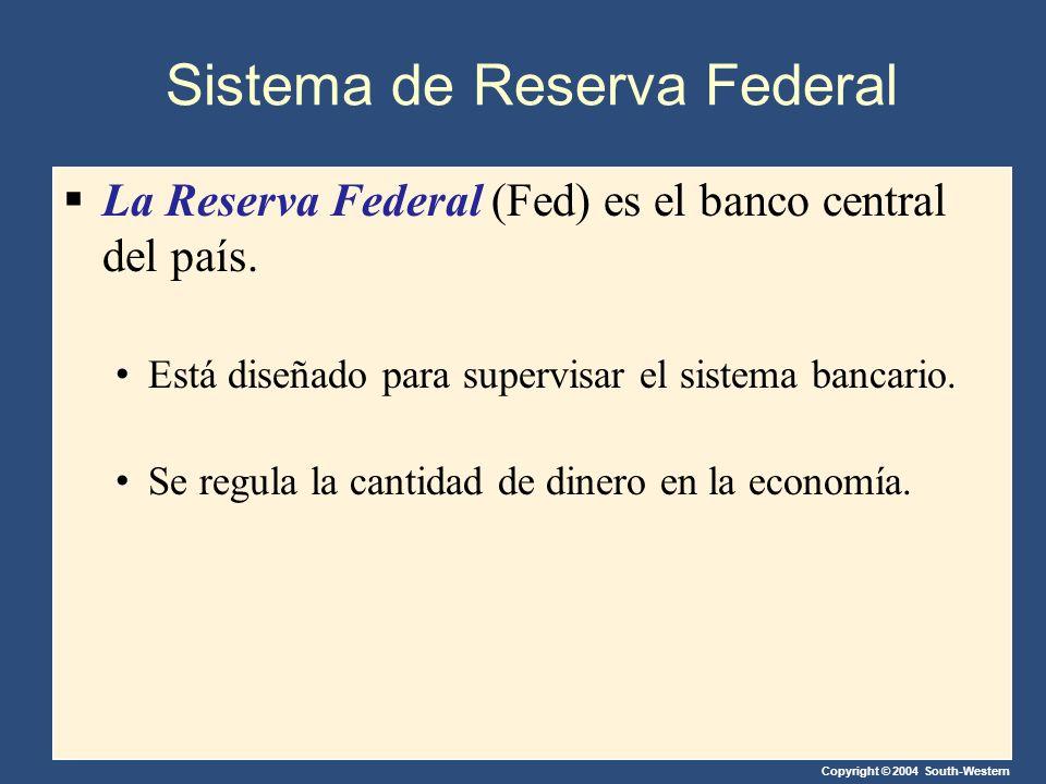 Copyright © 2004 South-Western Sistema de Reserva Federal La Reserva Federal (Fed) es el banco central del país. Está diseñado para supervisar el sist