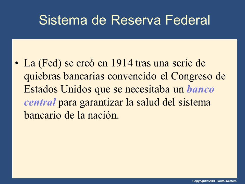 Copyright © 2004 South-Western Sistema de Reserva Federal La (Fed) se creó en 1914 tras una serie de quiebras bancarias convencido el Congreso de Estados Unidos que se necesitaba un banco central para garantizar la salud del sistema bancario de la nación.