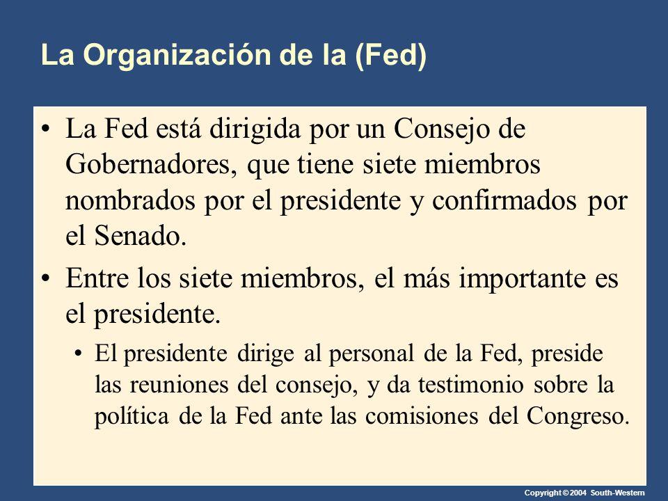 Copyright © 2004 South-Western La Organización de la (Fed) La Fed está dirigida por un Consejo de Gobernadores, que tiene siete miembros nombrados por el presidente y confirmados por el Senado.