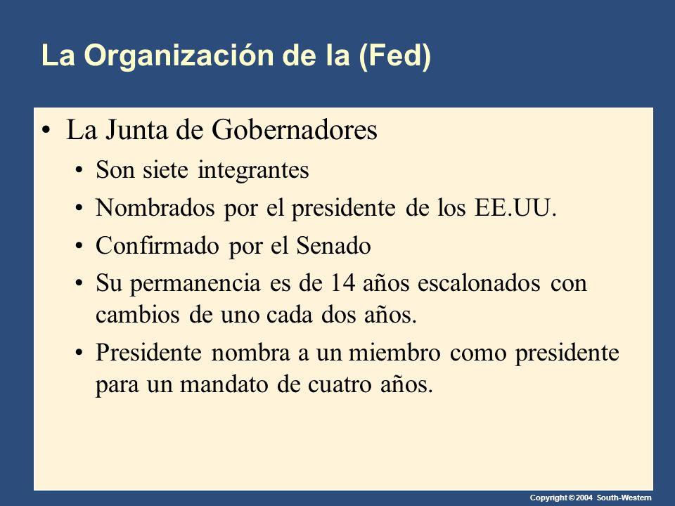 Copyright © 2004 South-Western La Organización de la (Fed) La Junta de Gobernadores Son siete integrantes Nombrados por el presidente de los EE.UU.
