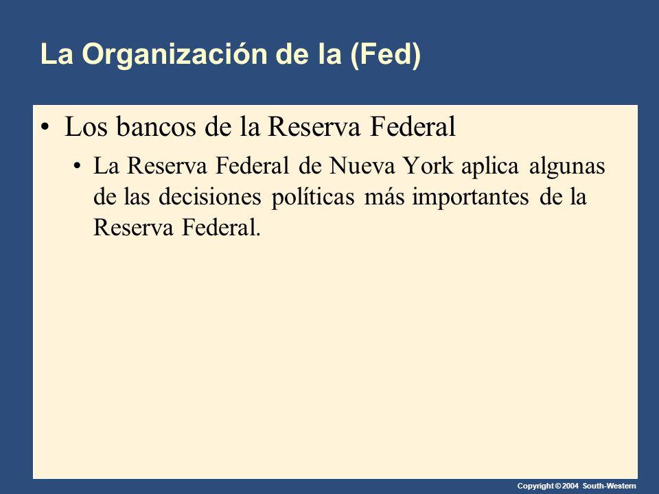 Copyright © 2004 South-Western La Organización de la (Fed) Los bancos de la Reserva Federal La Reserva Federal de Nueva York aplica algunas de las decisiones políticas más importantes de la Reserva Federal.