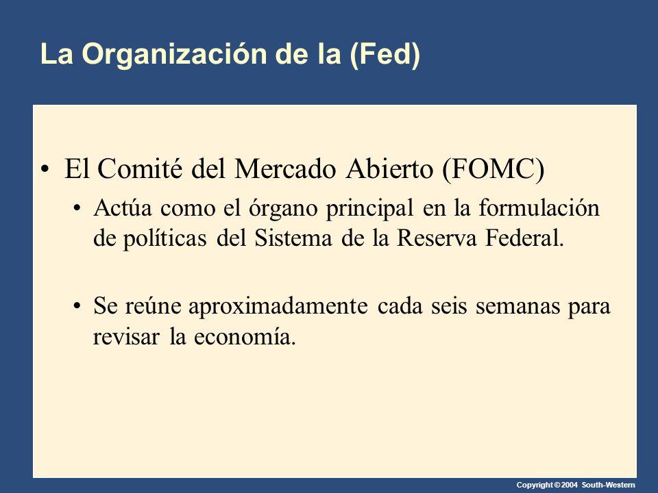 Copyright © 2004 South-Western La Organización de la (Fed) El Comité del Mercado Abierto (FOMC) Actúa como el órgano principal en la formulación de políticas del Sistema de la Reserva Federal.