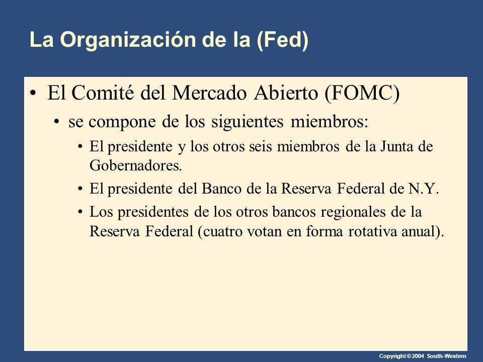 Copyright © 2004 South-Western La Organización de la (Fed) El Comité del Mercado Abierto (FOMC) se compone de los siguientes miembros: El presidente y los otros seis miembros de la Junta de Gobernadores.