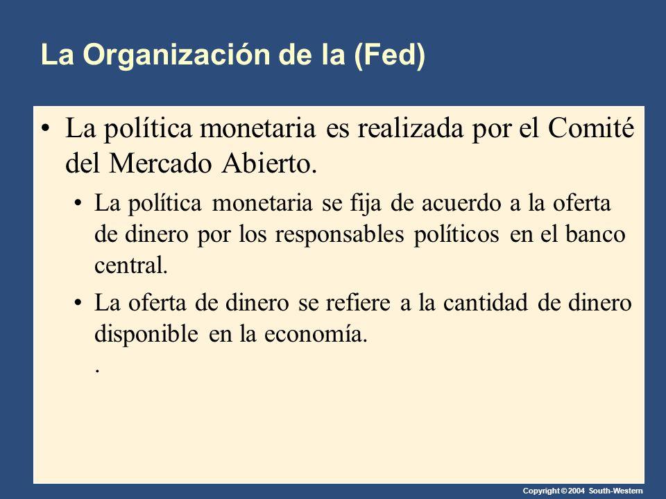 Copyright © 2004 South-Western La Organización de la (Fed) La política monetaria es realizada por el Comité del Mercado Abierto. La política monetaria