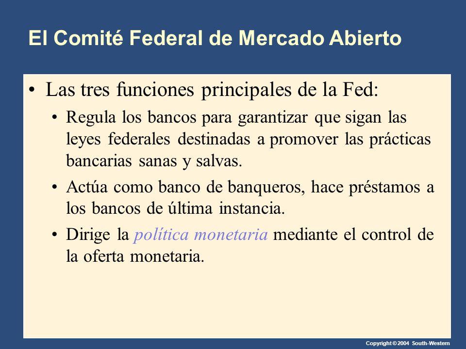 Copyright © 2004 South-Western El Comité Federal de Mercado Abierto Las tres funciones principales de la Fed: Regula los bancos para garantizar que sigan las leyes federales destinadas a promover las prácticas bancarias sanas y salvas.