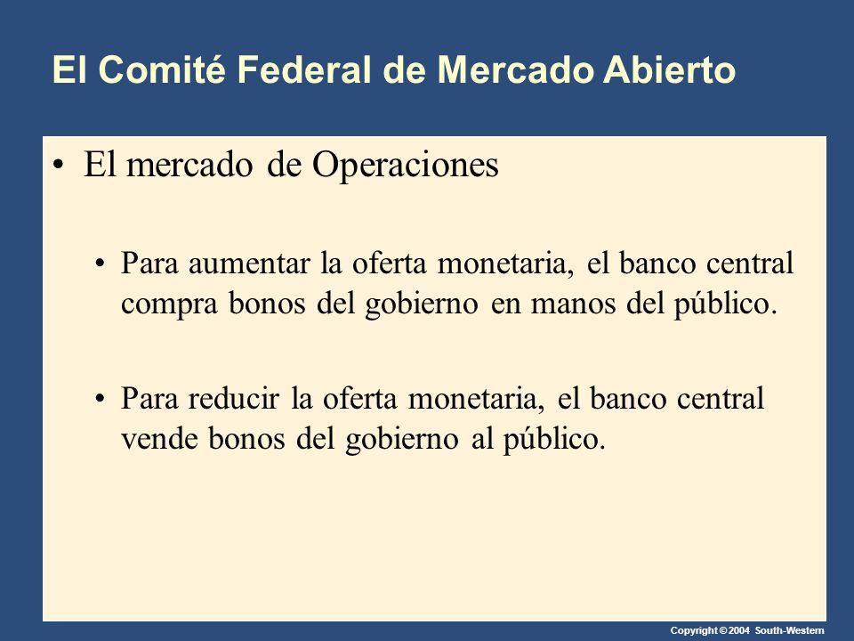 Copyright © 2004 South-Western El Comité Federal de Mercado Abierto El mercado de Operaciones Para aumentar la oferta monetaria, el banco central compra bonos del gobierno en manos del público.