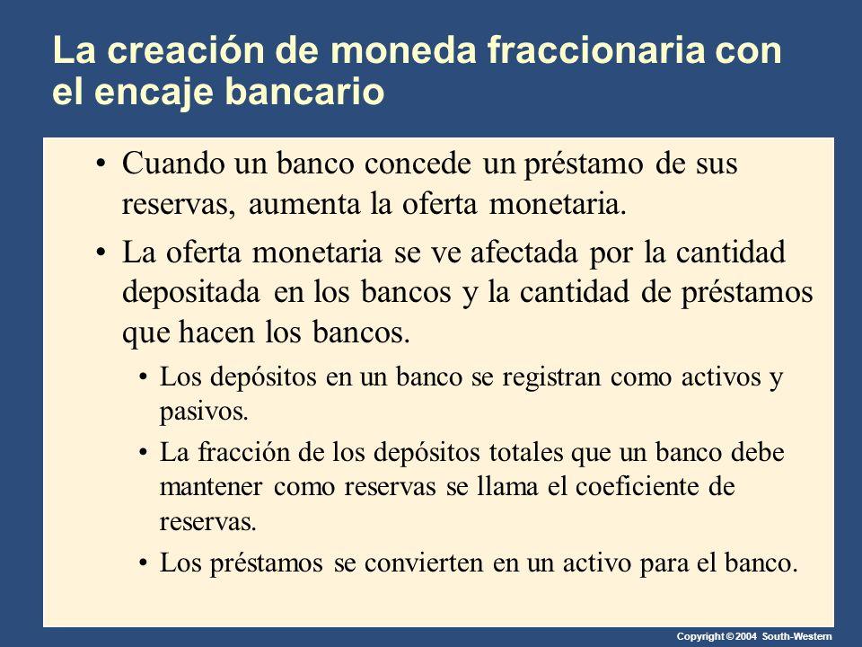 Copyright © 2004 South-Western La creación de moneda fraccionaria con el encaje bancario Cuando un banco concede un préstamo de sus reservas, aumenta la oferta monetaria.