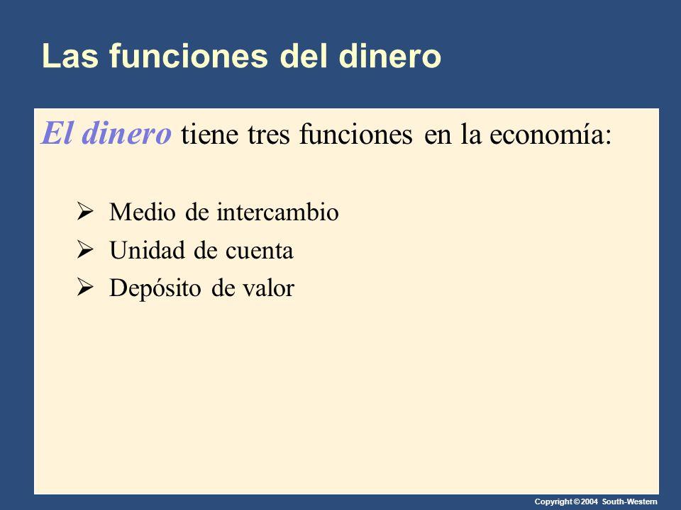 Copyright © 2004 South-Western Las funciones del dinero El dinero tiene tres funciones en la economía: Medio de intercambio Unidad de cuenta Depósito