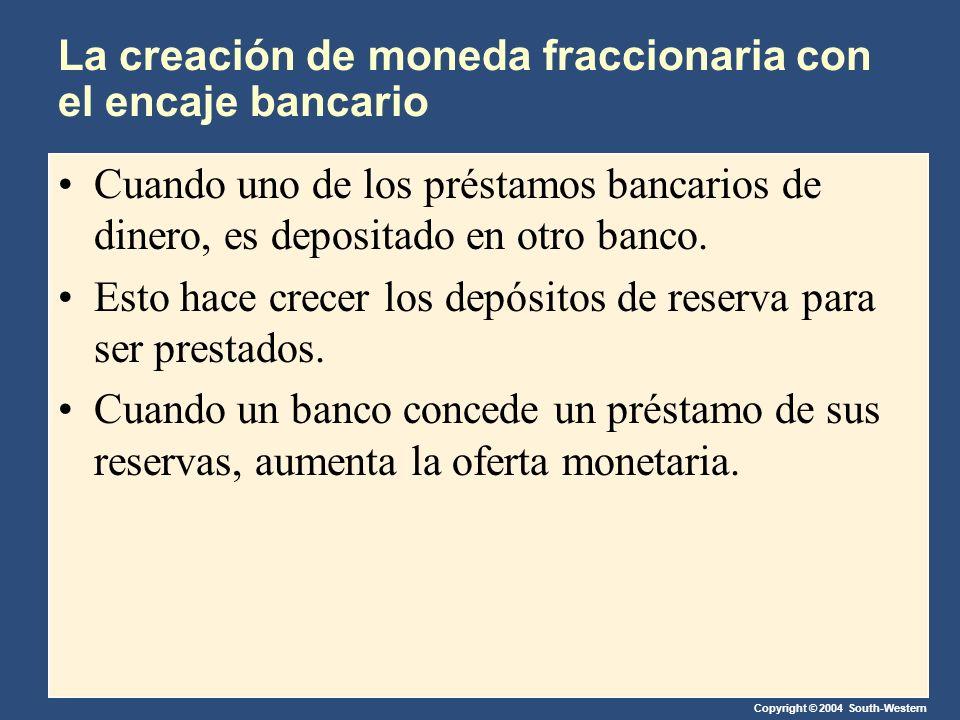 Copyright © 2004 South-Western La creación de moneda fraccionaria con el encaje bancario Cuando uno de los préstamos bancarios de dinero, es depositad