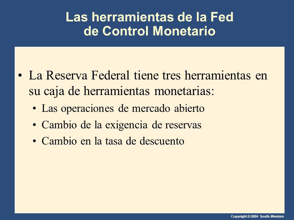 Copyright © 2004 South-Western Las herramientas de la Fed de Control Monetario La Reserva Federal tiene tres herramientas en su caja de herramientas monetarias: Las operaciones de mercado abierto Cambio de la exigencia de reservas Cambio en la tasa de descuento