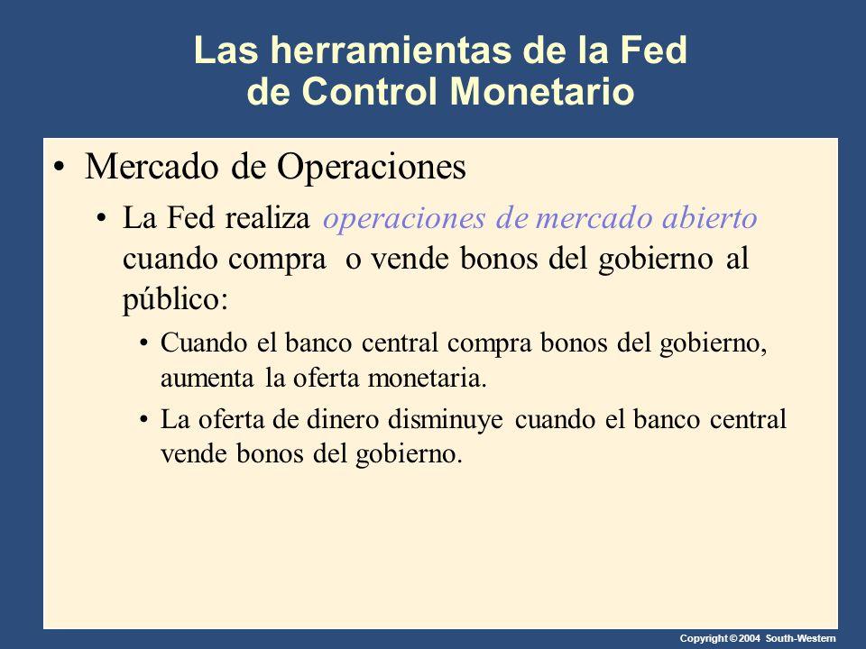 Copyright © 2004 South-Western Las herramientas de la Fed de Control Monetario Mercado de Operaciones La Fed realiza operaciones de mercado abierto cuando compra o vende bonos del gobierno al público: Cuando el banco central compra bonos del gobierno, aumenta la oferta monetaria.