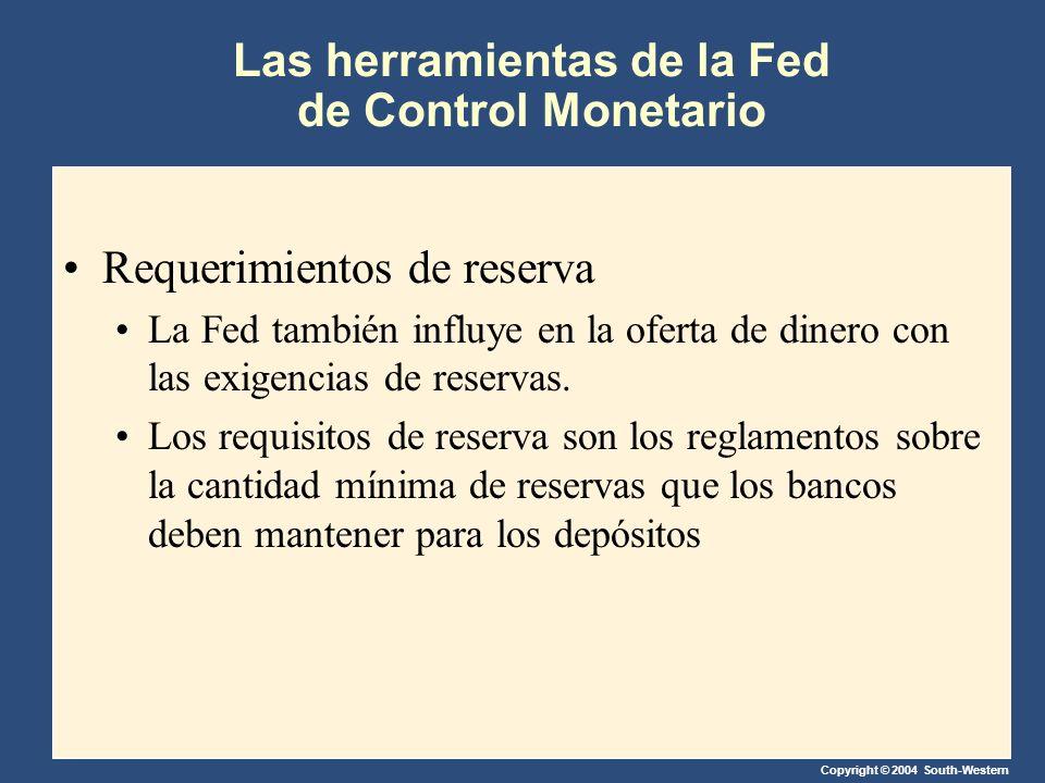 Copyright © 2004 South-Western Las herramientas de la Fed de Control Monetario Requerimientos de reserva La Fed también influye en la oferta de dinero con las exigencias de reservas.