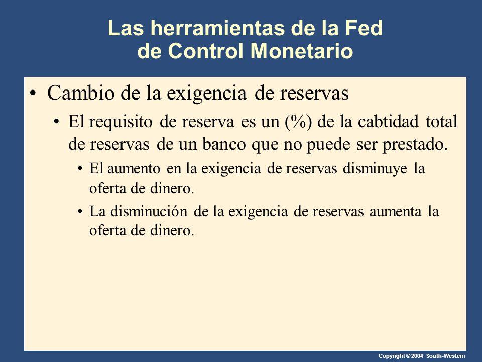 Copyright © 2004 South-Western Las herramientas de la Fed de Control Monetario Cambio de la exigencia de reservas El requisito de reserva es un (%) de la cabtidad total de reservas de un banco que no puede ser prestado.