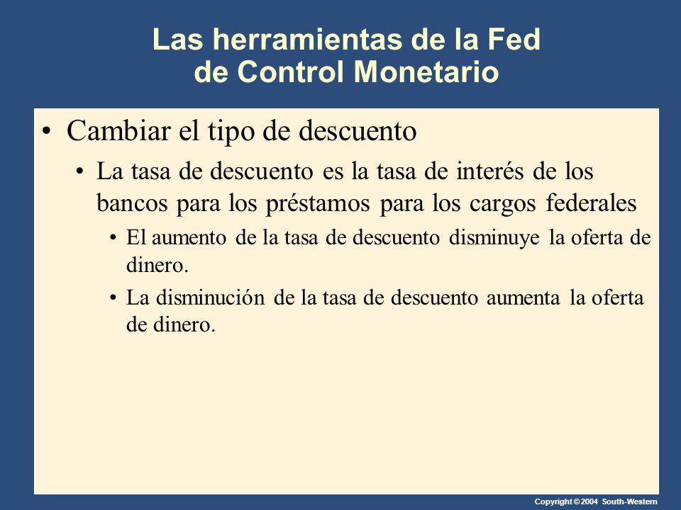 Copyright © 2004 South-Western Las herramientas de la Fed de Control Monetario Cambiar el tipo de descuento La tasa de descuento es la tasa de interés de los bancos para los préstamos para los cargos federales El aumento de la tasa de descuento disminuye la oferta de dinero.