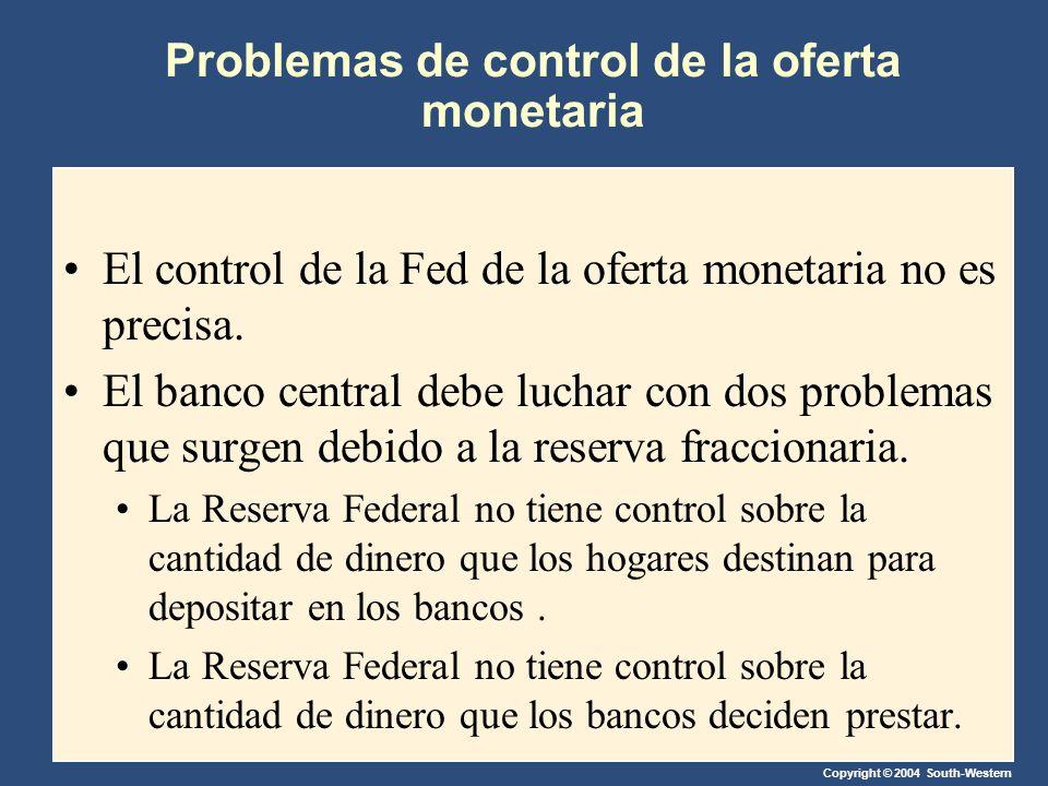 Copyright © 2004 South-Western Problemas de control de la oferta monetaria El control de la Fed de la oferta monetaria no es precisa. El banco central