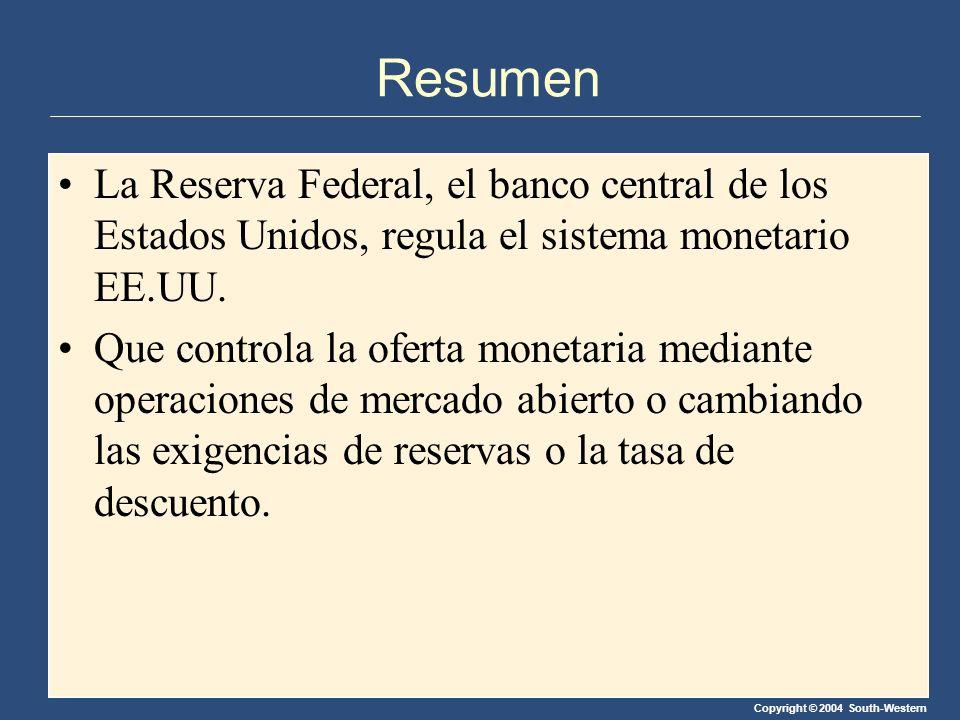 Copyright © 2004 South-Western Resumen La Reserva Federal, el banco central de los Estados Unidos, regula el sistema monetario EE.UU. Que controla la