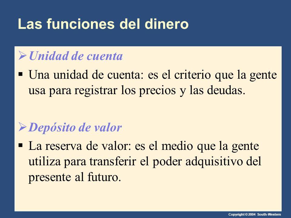 Copyright © 2004 South-Western Las funciones del dinero Unidad de cuenta Una unidad de cuenta: es el criterio que la gente usa para registrar los prec