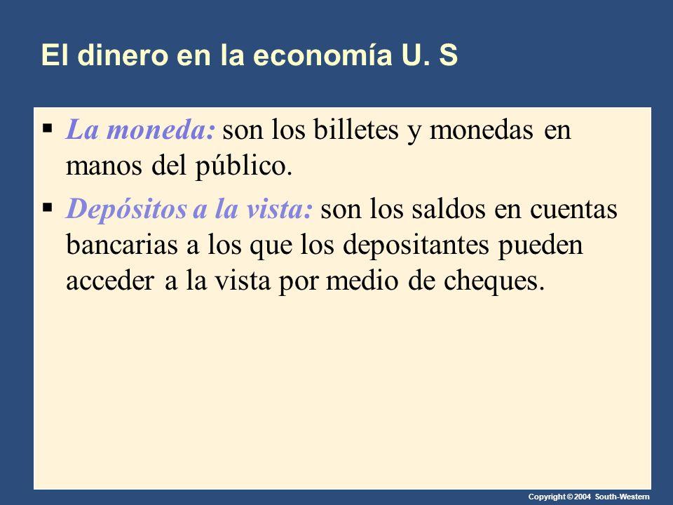 Copyright © 2004 South-Western El dinero en la economía U. S La moneda: son los billetes y monedas en manos del público. Depósitos a la vista: son los