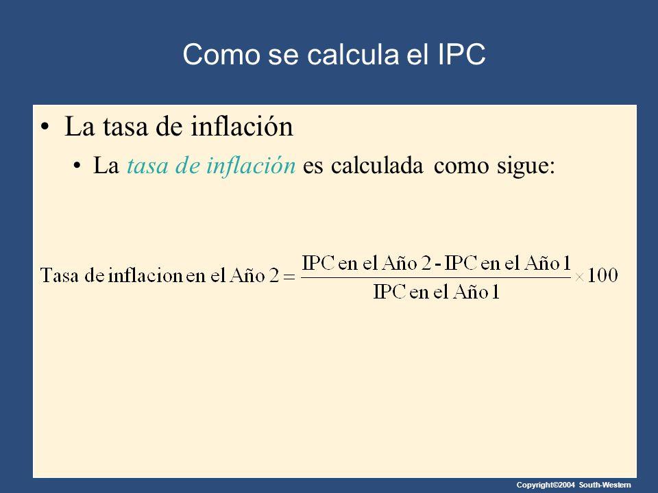 Copyright©2004 South-Western Como se calcula el IPC La tasa de inflación La tasa de inflación es calculada como sigue: