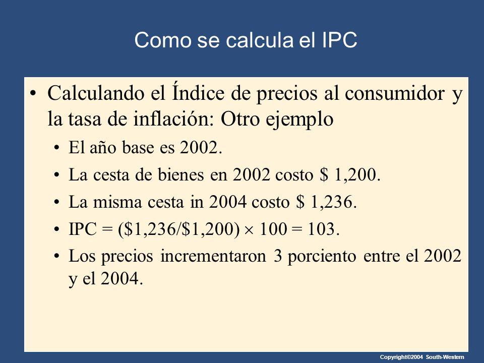 Copyright©2004 South-Western Como se calcula el IPC Calculando el Índice de precios al consumidor y la tasa de inflación: Otro ejemplo El año base es
