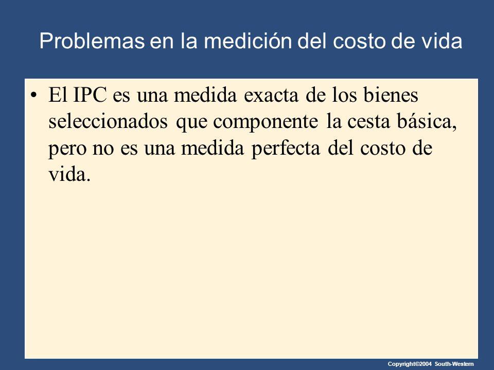 Problemas en la medición del costo de vida El IPC es una medida exacta de los bienes seleccionados que componente la cesta básica, pero no es una medi