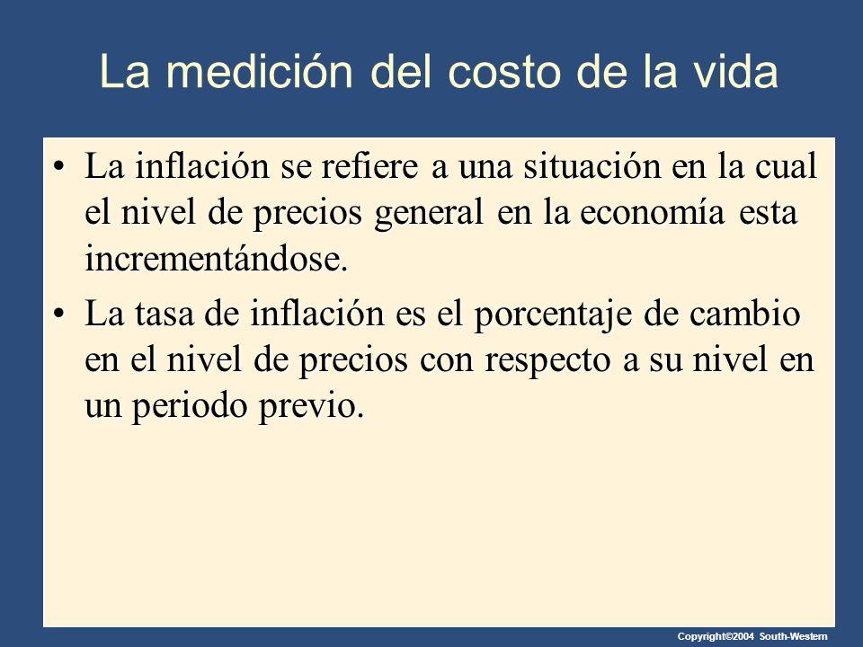 Copyright©2004 South-Western La medición del costo de la vida La inflación se refiere a una situación en la cual el nivel de precios general en la eco