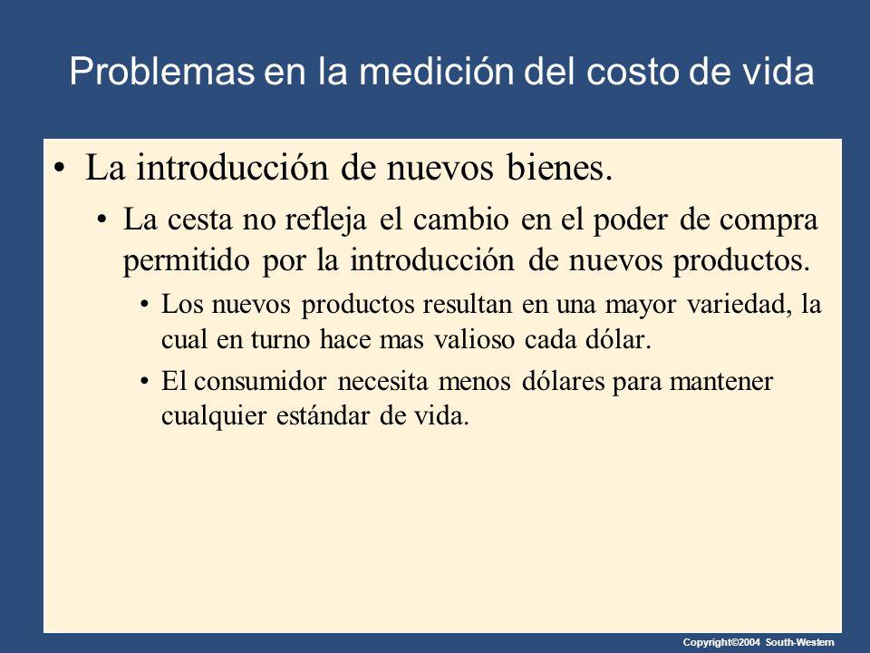 Copyright©2004 South-Western Problemas en la medición del costo de vida La introducción de nuevos bienes. La cesta no refleja el cambio en el poder de