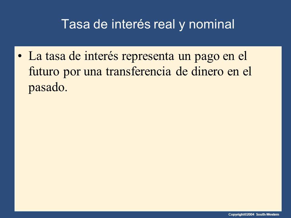 Copyright©2004 South-Western Tasa de interés real y nominal La tasa de interés representa un pago en el futuro por una transferencia de dinero en el p