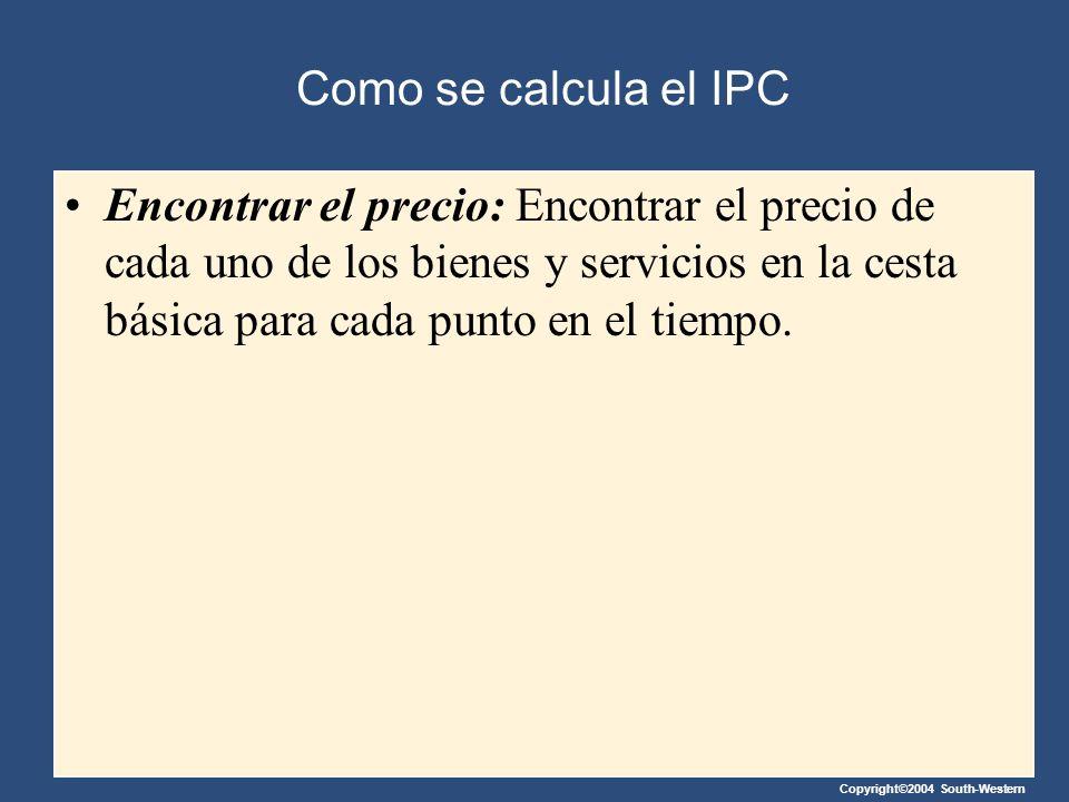 Copyright©2004 South-Western Como se calcula el IPC Encontrar el precio: Encontrar el precio de cada uno de los bienes y servicios en la cesta básica