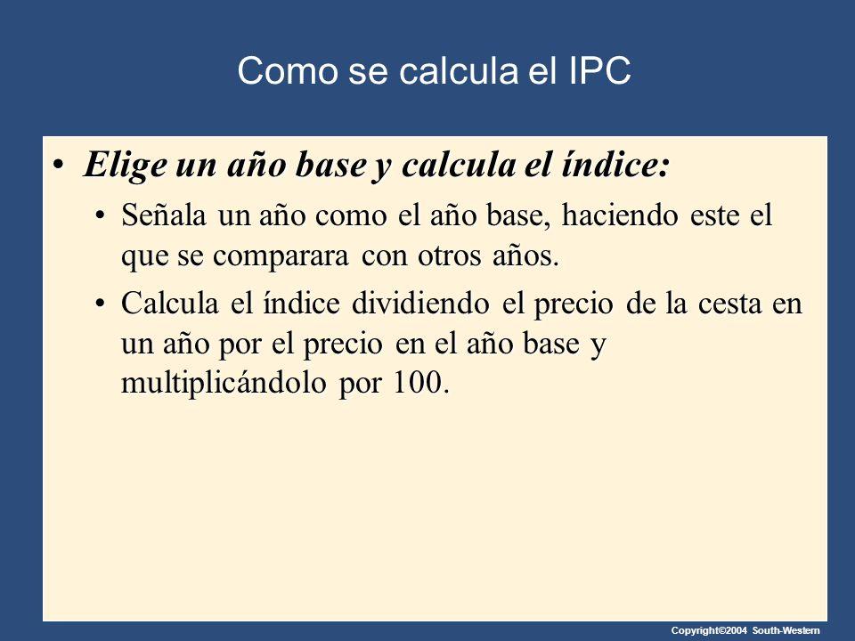 Copyright©2004 South-Western Como se calcula el IPC Elige un año base y calcula el índice:Elige un año base y calcula el índice: Señala un año como el